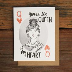 This playing card Queen was hand-drawn just for the beautiful queen of your heart! Great for Valentines Day, your anniversary or just because! Printed