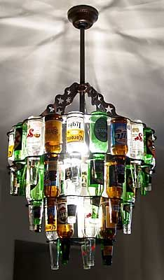 beer bottle chandelier. love this for a bar room or game room, you could also use Old Coke, 7Up, Sundrop, Pepsi glass bottles...., this will be perfect for the basement in our future home!!!
