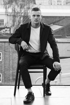 Mr Jack O'Connell for MR PORTER wearing Arc'teryx Veilance jacket, Levis Vintage t-shirt and Wooyoungmi trousers.