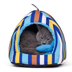 [ $13.10 - 26.81 ] Soft Bed For Cat High Quality Pet Bed Stripe Multifunction House For Dog Puppy Home Get Pillow Chew Toy Dog Kennel Goods for Pet