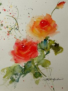 Watercolor Painting - Tea Roses by Sandra Strohschein