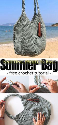 knit crochet Summer Bag Crochet - Stricken ist so - Crochet Diy, Crochet Bag Tutorials, Free Crochet Bag, Crochet Tote, Crochet Handbags, Crochet Purses, Crochet Crafts, Crochet Summer, Crochet Things