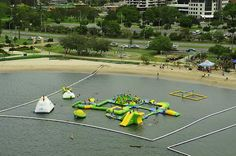 Wibit Sports Park at the Australian Gold Coast. Shark netting included!