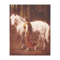 Victorian Romantic Girl with White Stallion Horse Beautiful vintage victorian barefoot maiden with a white horse in a forest setting. Black and white sepia toned photograph with hand tinted rusty orange dress. Distressed naturally from age with light wear and scratches. More like this available!