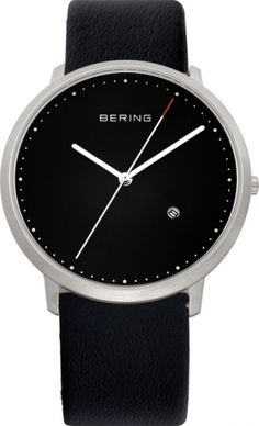 BERING Men's Analogue Quartz Watch With Leather Strap günstig kaufen Gents Watches, Casual Watches, Watches For Men, Silver Man, Black Silver, Alpina Watches, Classic Men, Color Plata, Bracelet Cuir