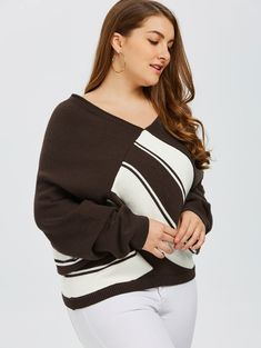 Coffee Block knitted sexy pullover women tops v neck long sleeve chic jumper Wrap Sweater, Ugly Sweater, Jumper, Plus Size Cardigans, Fashion Seasons, Color Block Sweater, Knitwear, V Neck, Pullover