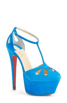 Christian Louboutin blue suede platform high heel sandals