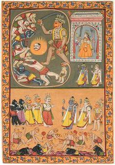 1770. Ramayana. Hanuman slays a group of demons; Rama and Lakshmana greet the monkeys and bears.