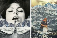 Sarah Eisenlohr surrealist collages of bridge woman and milkmaid on mountaintop