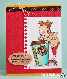 Art Impressions Rubber Stamps: Ai People Cathy Caffeine Set (4322) handmade coffee themed card.