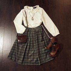 Pleats High Waist Check Full Skirt