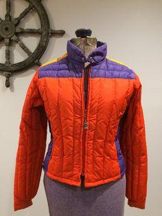 Vintage 70s Down Parka Orange Puffy Jacket  by RetroRevivalClub