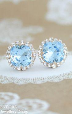 Aquamarine earrings | Swarovski aquamarine | march birthstone | birthstone jewelry | birthstone earrings | aquamarine wedding | light blue wedding | something blue | www.endorajewellery.etsy.com