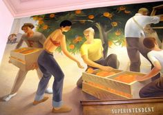 Fullerton Post Office Mural 2 of 3  ~  Painted in 1933 by Paul Julian, commissioned by the WPA. Shows life in Fullerton in the 1930's.