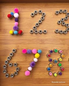 I'm still a little obsessed with our new number resource! Pom poms & beads are also a regular addition to the marbles! Teaching Numbers, Numbers Preschool, Math Numbers, Preschool Math, Fun Math, Preschool Projects, Kindergarten Math, Maths, Motor Activities
