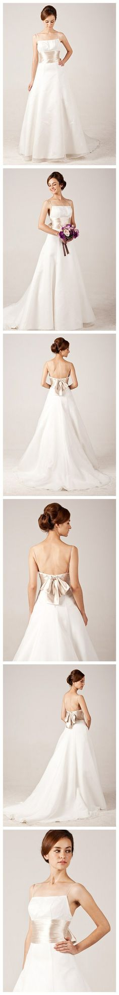 Graceful Spaghetti Straps Organza Wedding Dress with Sashes/Ribbon