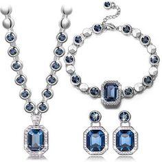 Pauline & Morgen «Rhin» Parure Bracelet Collier Boucles d'Oreilles femme cristal SWAROVSKI ELEMENTS bleu plaque or blanc-cadeau…