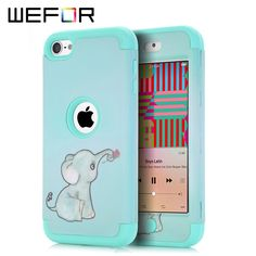 Case Cover For iPod Touch 6 Case Elephant Multi Colors Impact Hard & Soft Silicone Hybrid Shockproof w/Screen Film+Stylus Pen