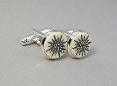 Scrimshaw Mammoth  Ivory Cuff Links with compass by lindalayden, $52.00