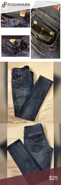 """True Religion Jeans 👖3 Buttons/No Zipper 👖 True Religion Jeans - 🇺🇸Made in the USA 🇺🇸 3 Buttons 👖 Size 27 👖 Inseam  30"""" True Religion Jeans"""