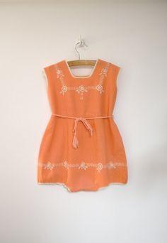 1930s Handmade Sleeveless Peach and Cream Embroidered Romper