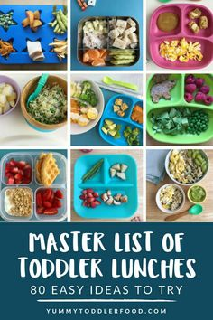 Constantly running out of lunch ideas! This Master List of Toddler Lunches will save you day after day with healthy meal ideas. #toddlerlunch #kidlunches #kidlunchesathome #kidlunchideas #lunchideasforschool