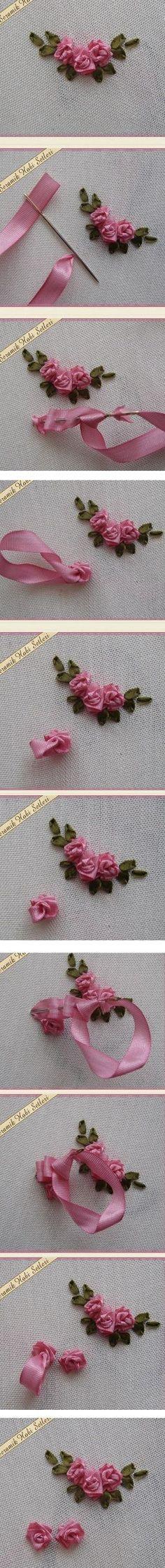 Роза из атласной ленты. Мастер