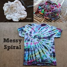 Tulip Tie Dye T-shirt Party!  Messy spiral shirt!  Great way to use up all the leftover dye!  Patterns and tricks