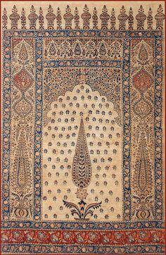 Isfahan Summer Prayer Rug Qalamkar  Qajar Dynasty 1795 -1925 A.D