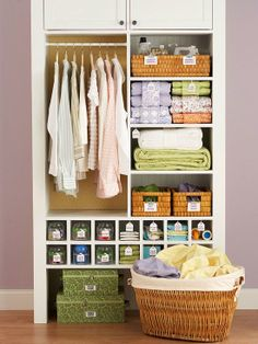 Make the linen closet easier to navigate by storing sheets in sets rather than by type. Stack fitted and flat sheets and tuck pillowcases around the center to hold each set together.