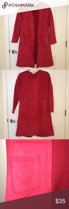 8019f604285 Burlington Coat Factory Red Jacket Cherry Red Suede Jacket w  Pockets Size  M L