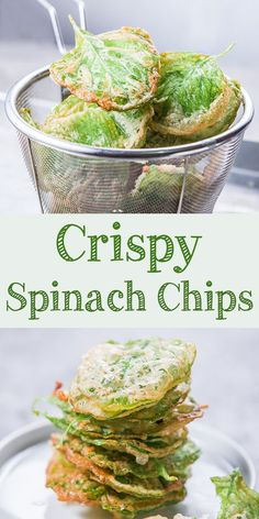 Crispy spinach chips are easy and simple snacks. Kids will absolutely like this crispy spinach chips. Savory, crunchy, and less guilty when we ate it. Simple Snacks, Healthy Snacks, Healthy Eating, Protein Snacks, Yummy Snacks, Yummy Food, Vegan Recipes Easy, Vegetarian Recipes, Delicious Recipes