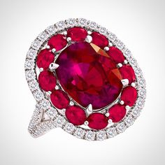Rubellite Ring in Gold, surrounded by Ruby and Diamond Ring at #JensenStern#Idaho#Campbellian_Collection