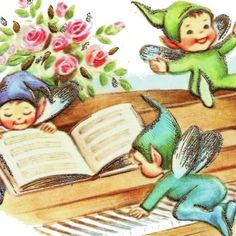 Fairies Elves Pixies Playing on a Piano