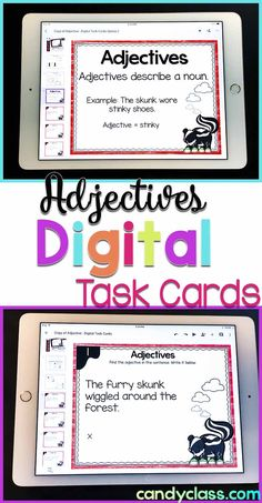 Looking for adjective activities that are paperless? These digital task cards are easy to use even if you do not have Google Classroom! You can use Google Drive instead and have students use the no prep recording sheet. There is an anchor chart slide show at the beginning, and it is self-checking. This is geared for 2nd grade, but can be used in first grade or third grade too! These come in a language bundle that covers vocabulary and grammar. Adjectives Activities, Grammar Activities, Teaching Grammar, Writing Activities, Student Teaching, Adjectives Grammar, Grammar Lessons, Language Activities, Educational Activities