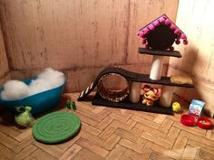 Barbie Diorama OOAK 1:6 scale CAT TREE Cat Tower with Custom LPS CAT Toys & More