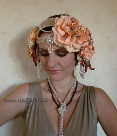 salmon beige tribalesque headdress tribal fusion by studijakalla - Yamini Kumar Cohen Photo Mariage