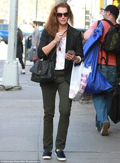 Running errands: Brooke Shields was seen out and about in New York City on Monday...
