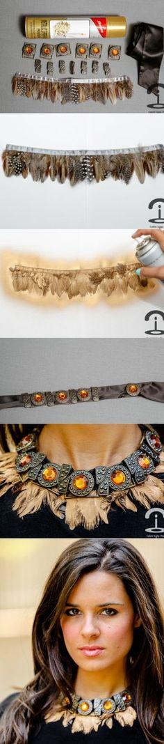 Crimenes de la Moda DIY - Feather necklace - collar plumas - gold - dorado - jewellery