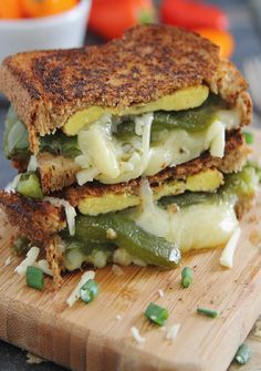Chili relleno grilled cheese sandwich