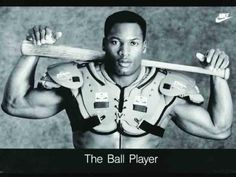 """Bo Jackson, retired baseball AND football player. He was the first athlete to be named an All-Star in two major American sports. He also won the Heisman Trophy in The Nike ad campaign """"Bo Knows"""" launched him into popularity beyond sports. Bo Jackson, Vincent Jackson, Ariana Grande, But Football, Auburn Football, Raiders Football, Football Players, Raiders Baby, Football Season"""