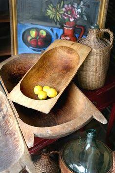 Vintage Wooden Oblong Bread Bowls