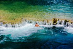 Cooling off in one of Krka National Park's many waterfalls