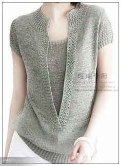 """""""Cashmere Pointelle Sweater by Autumn Cashmere at Gilt"""", """"Great idea combining a mock shell with the cardi."""", """"This post was discovered by Еле"""", """"This post was discovered by Елена К.) your own Posts on Unirazi. Diy Crafts Knitting, Diy Crafts Crochet, Knitting Machine Patterns, Knit Patterns, Summer Knitting, Baby Knitting, Gilet Crochet, Knit Art, Vest Pattern"""