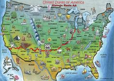 Students can get a visual of the states Route 66 traveled through. SS.G.1.1: Construct and interpret maps and other representations to navigate a familiar place.
