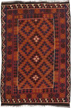 Hand woven Shirvan Dark Red, Navy Wool Kilim