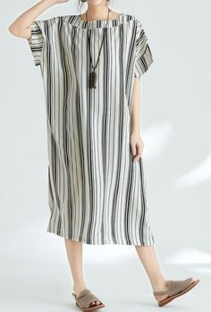 Women loose fit plus over size dress stripes maxi tunic Bohemian Boho trendy
