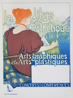 Old original Lithograph made by Belgium artist Théo van Rysselberghe (1862-1926). From: Das Moderne Plakat by Jean Louis Sponsel Subject: advertisement for art graphique and art plastique. Printed: Verlag von Gerhard Kühtmann Dresden Year: 1897 Size: 21,5 x 29 cm Signed: in the stone, lower left. Condition: usual browning and spots, otherwise very good condition. Das Moderne Plakat was a book printed in Dresden. This book contained 52 original Art Nouveau lithographs by various arti...