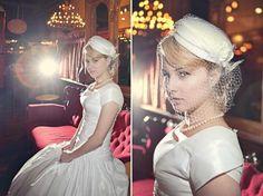 Pill box hat and veil and retro wedding dress