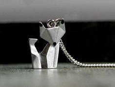 Ketten mittellang - Origami Fuchs Kette silber - ein Designerstück von VillaSorgenfrei bei DaWanda